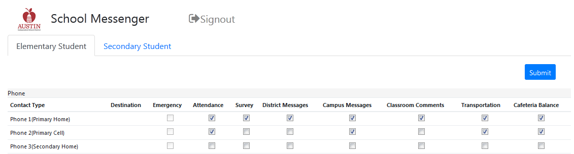 SchoolMessenger settings in the Parent Cloud